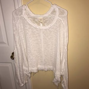 Free People Island Girl Hacci white sweater small